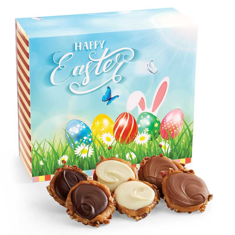 24 Piece Assorted Chocolate Turtle Gophers in the Easter Gift Box