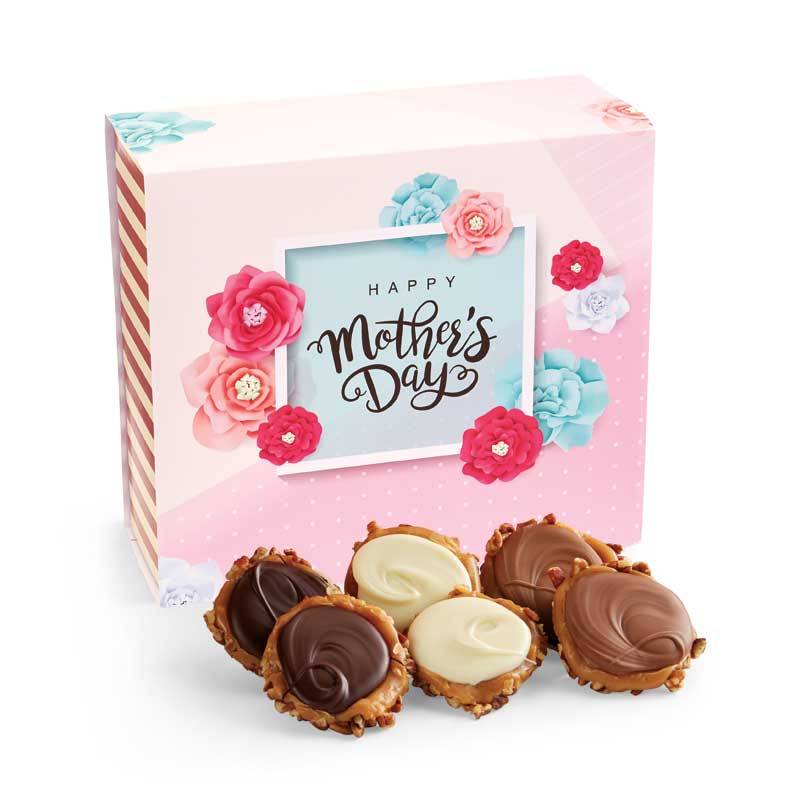 24 Piece Assorted Chocolate Turtle Gophers in the Mother's Day Gift Box