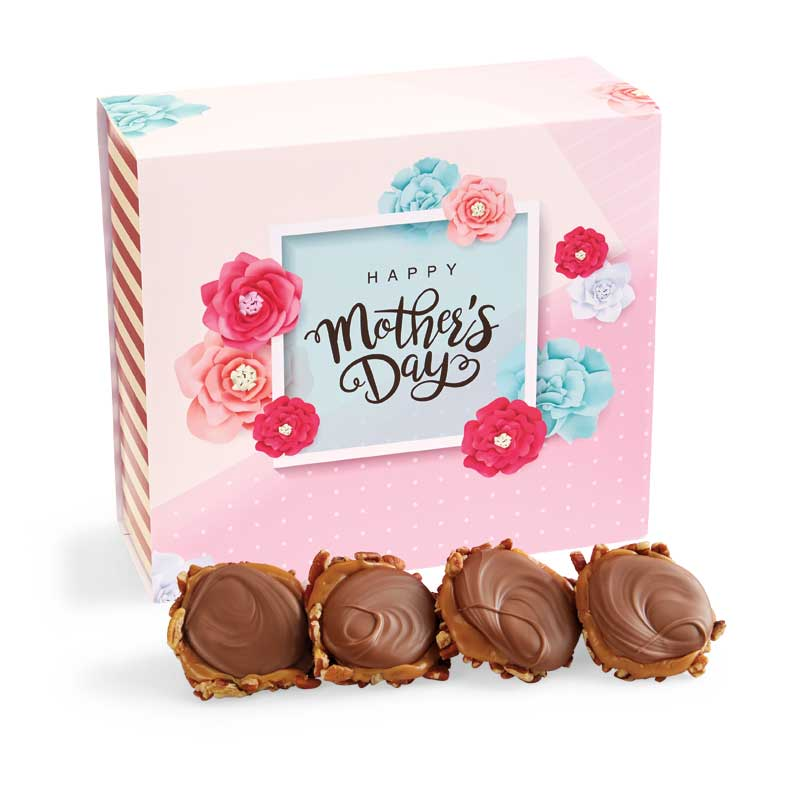 24 Piece Milk Chocolate Turtle Gophers in the Mother's Day Gift Box