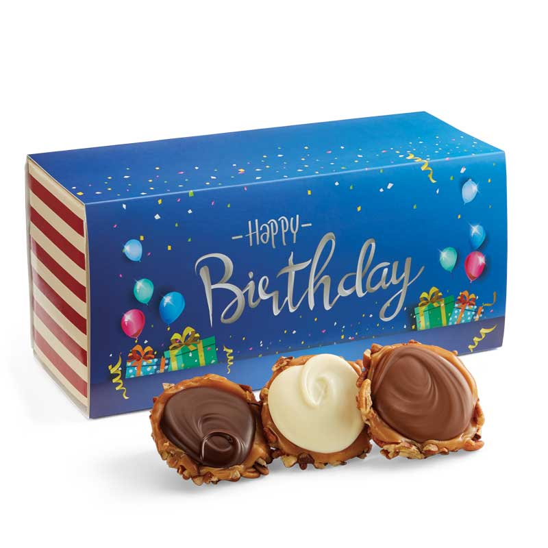 12 Piece Assorted Chocolate Turtle Gophers in the Birthday Gift Box