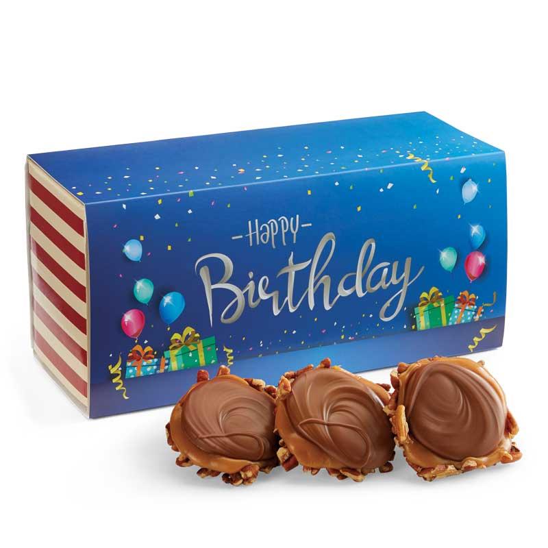 12 Piece Milk Chocolate Turtle Gophers in the Birthday Gift Box