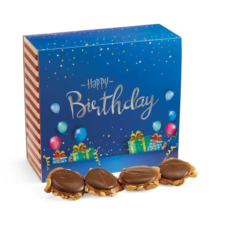 24 Piece Milk Chocolate Turtle Gophers in the Birthday Gift Box