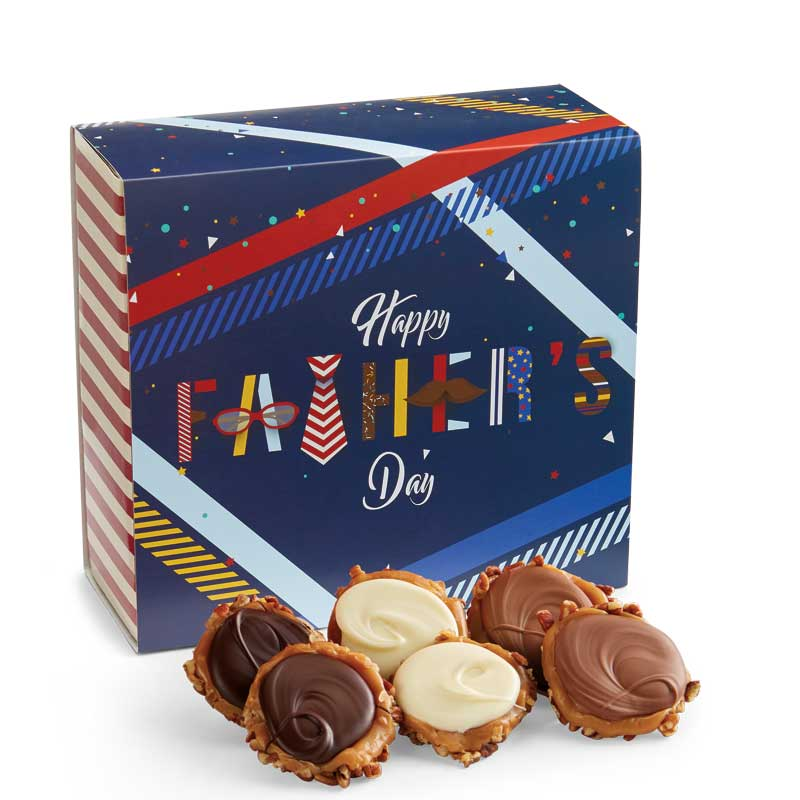 24 Piece Assorted Chocolate Turtle Gophers in the Father's Day Gift Box