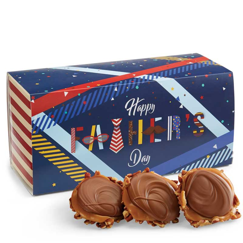12 Piece Milk Chocolate Turtle Gophers in the Father's Day Gift Box