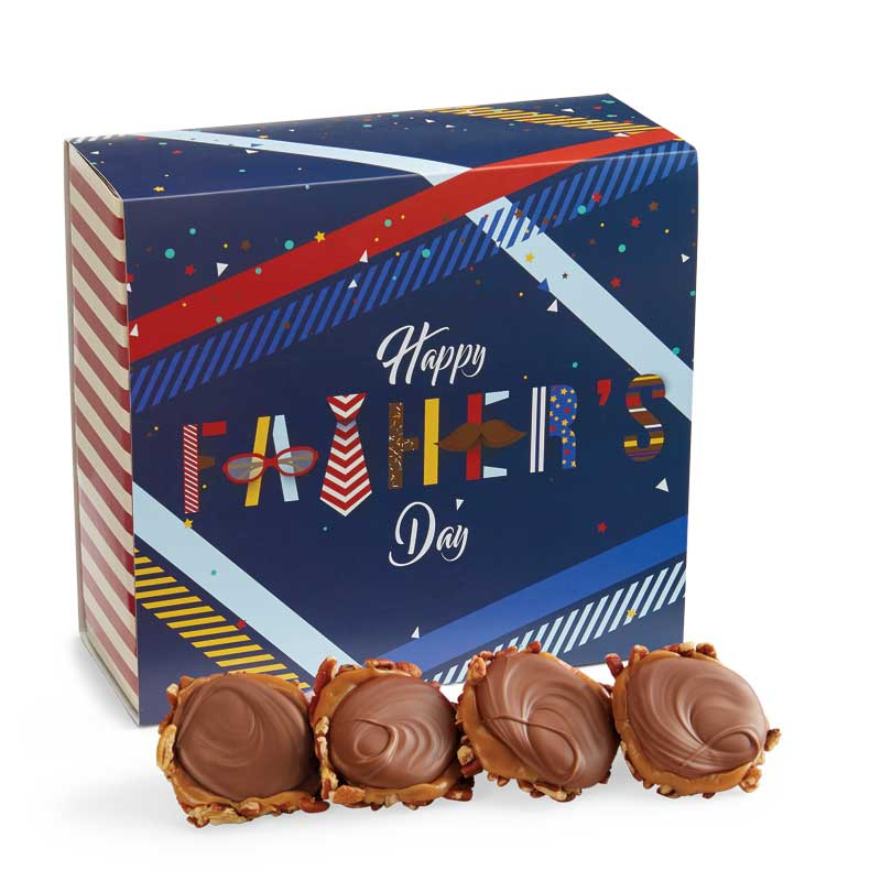 24 Piece Milk Chocolate Turtle Gophers in the Father's Day Gift Box