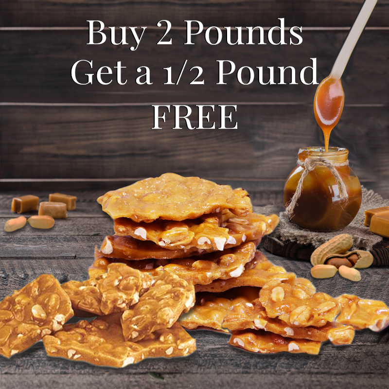 Buy Two 1lb. Bags of Peanut Brittle, Get a Free 1/2 lb. Bag!