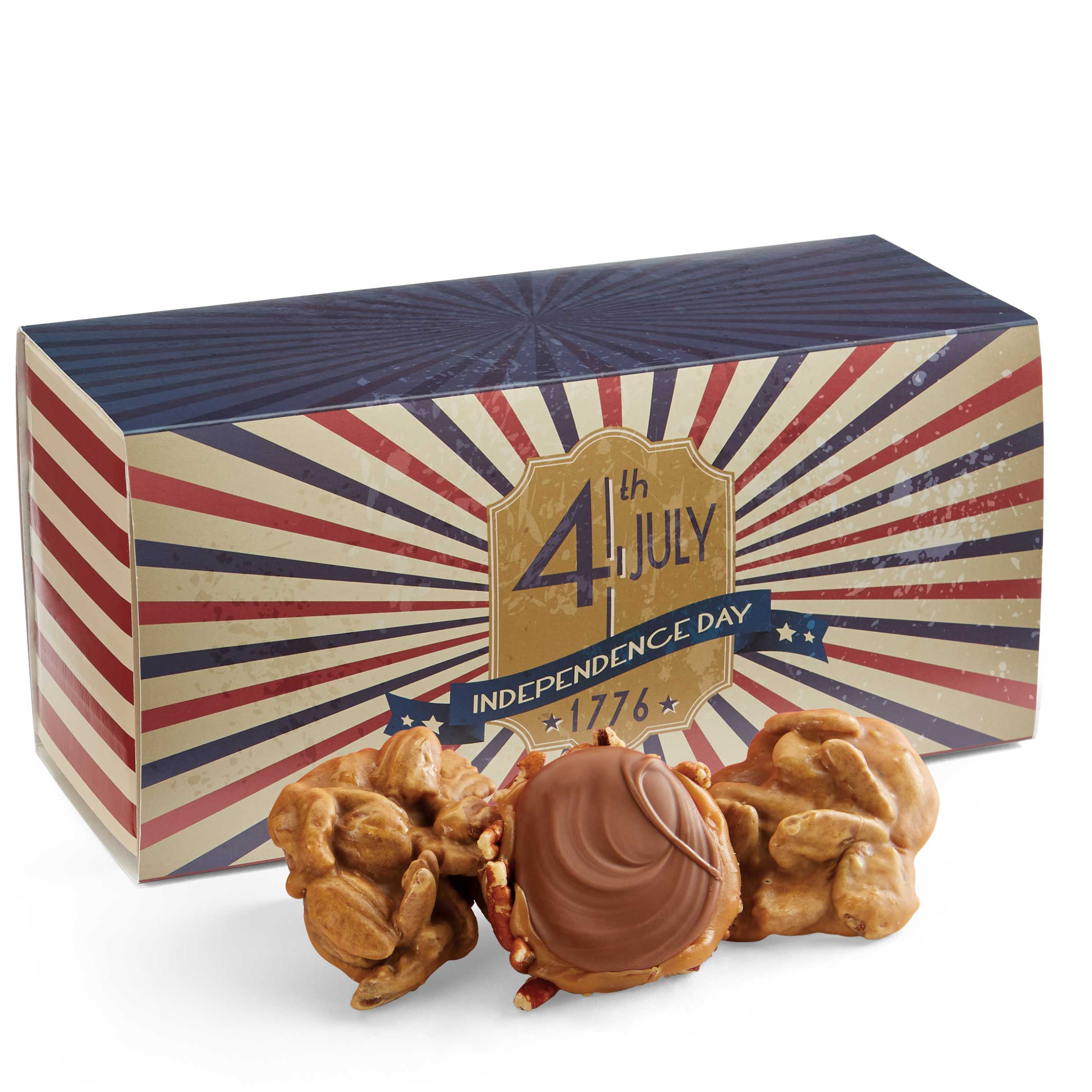 12 Piece Praline & Turtle Gopher Duo in the 4th of July Gift Box