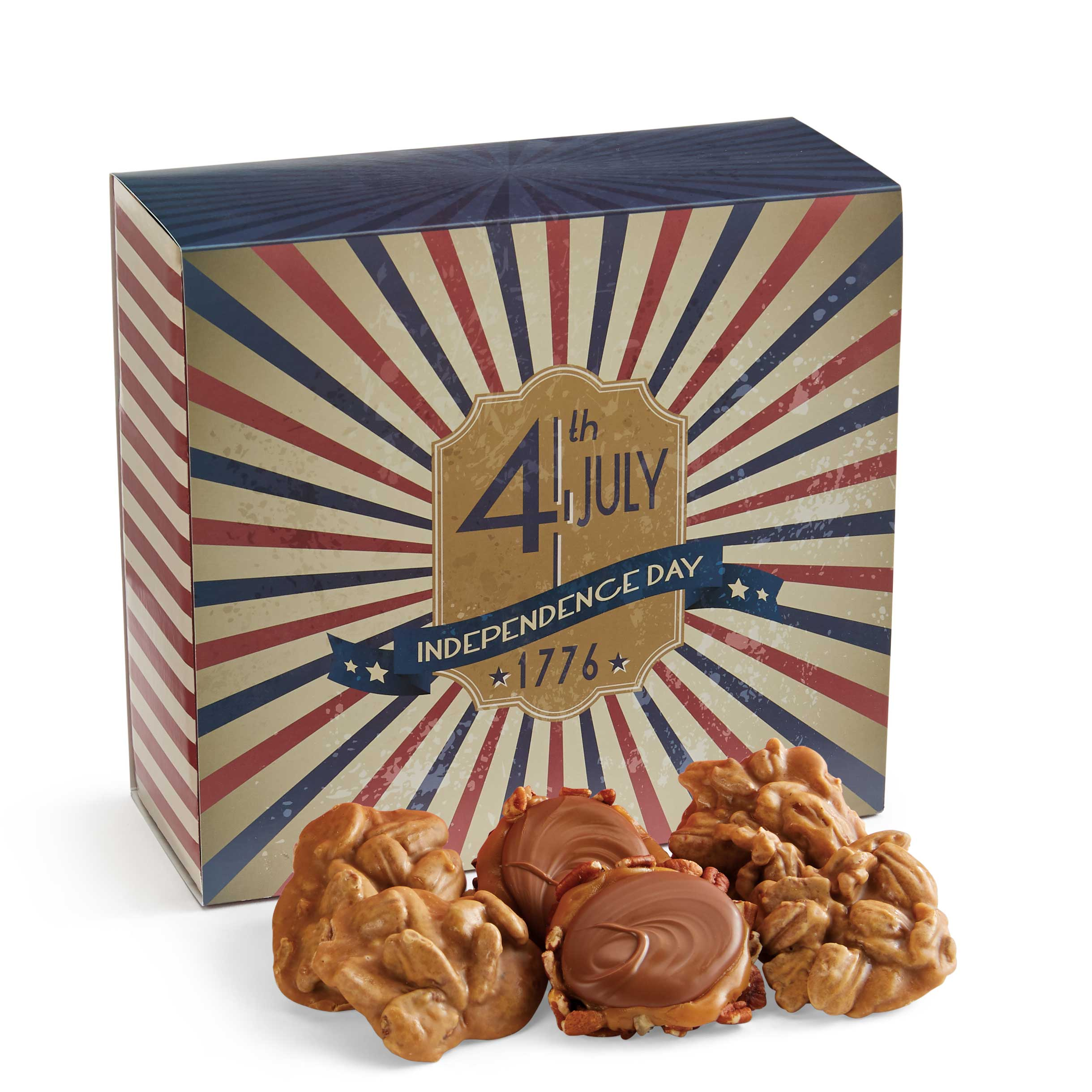 24 Piece Praline & Turtle Gopher Duo in the 4th of July Gift Box