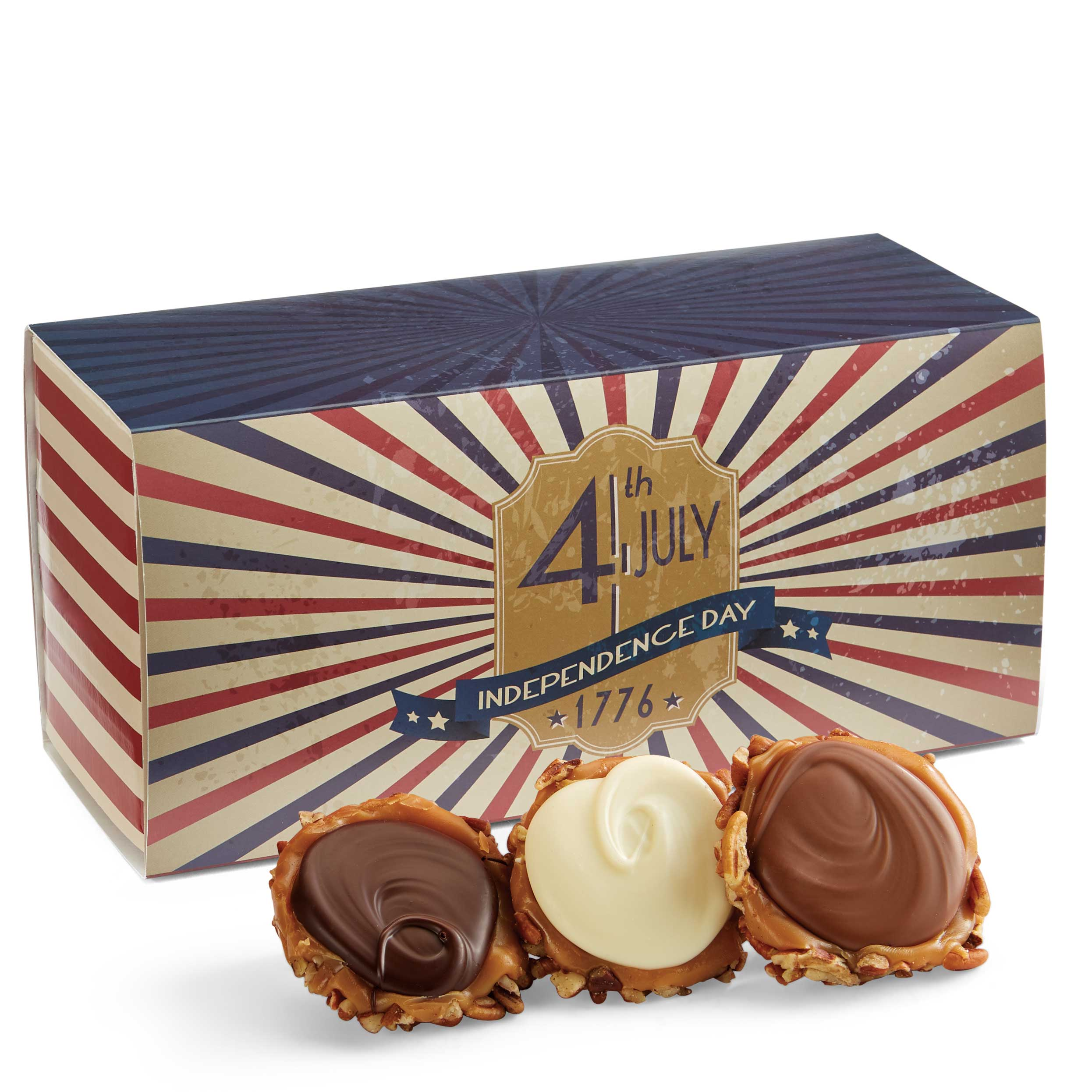 12 Piece Assorted Chocolate Turtle Gophers in the 4th of July Gift Box