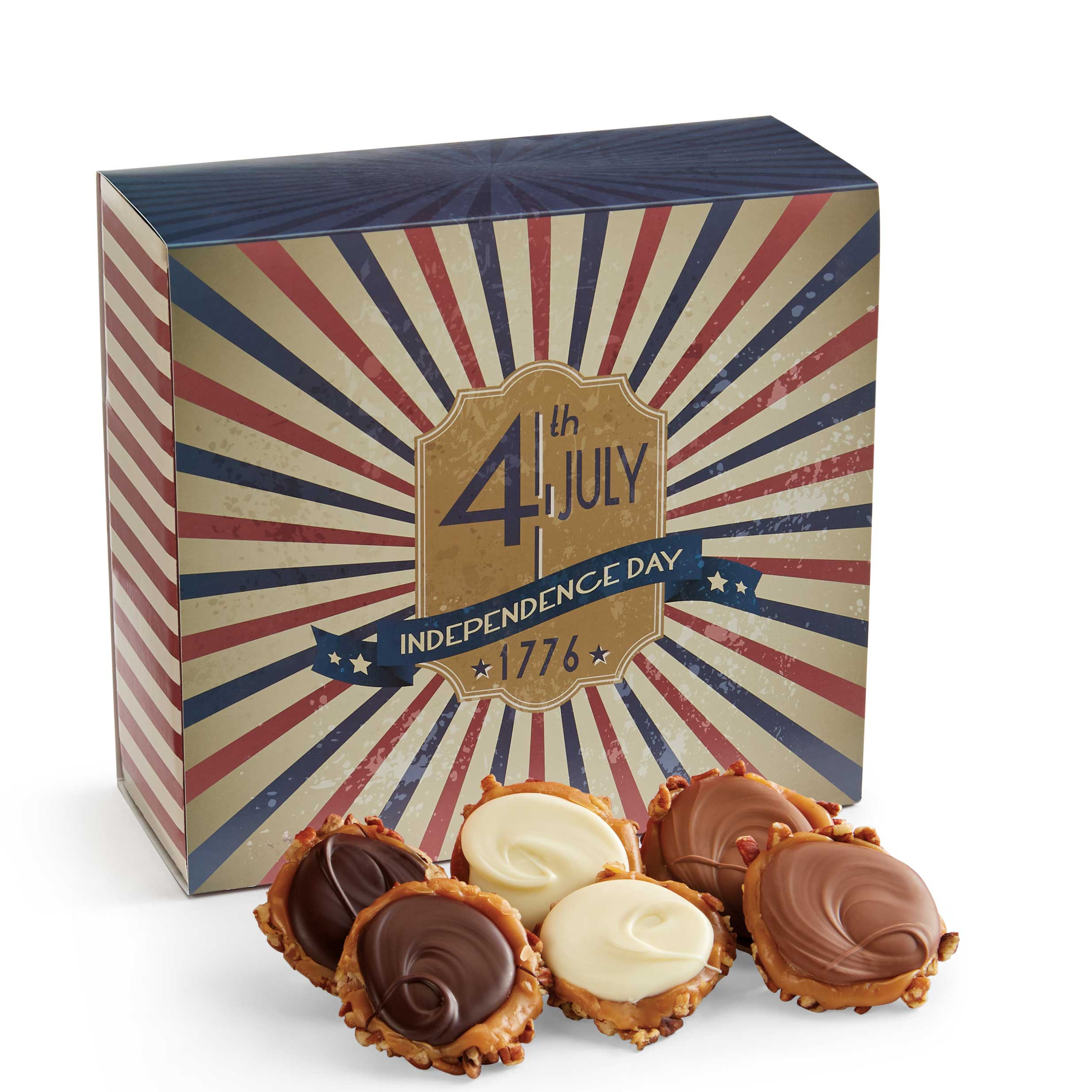 24 Piece Assorted Chocolate Turtle Gophers in the 4th of July Gift Box