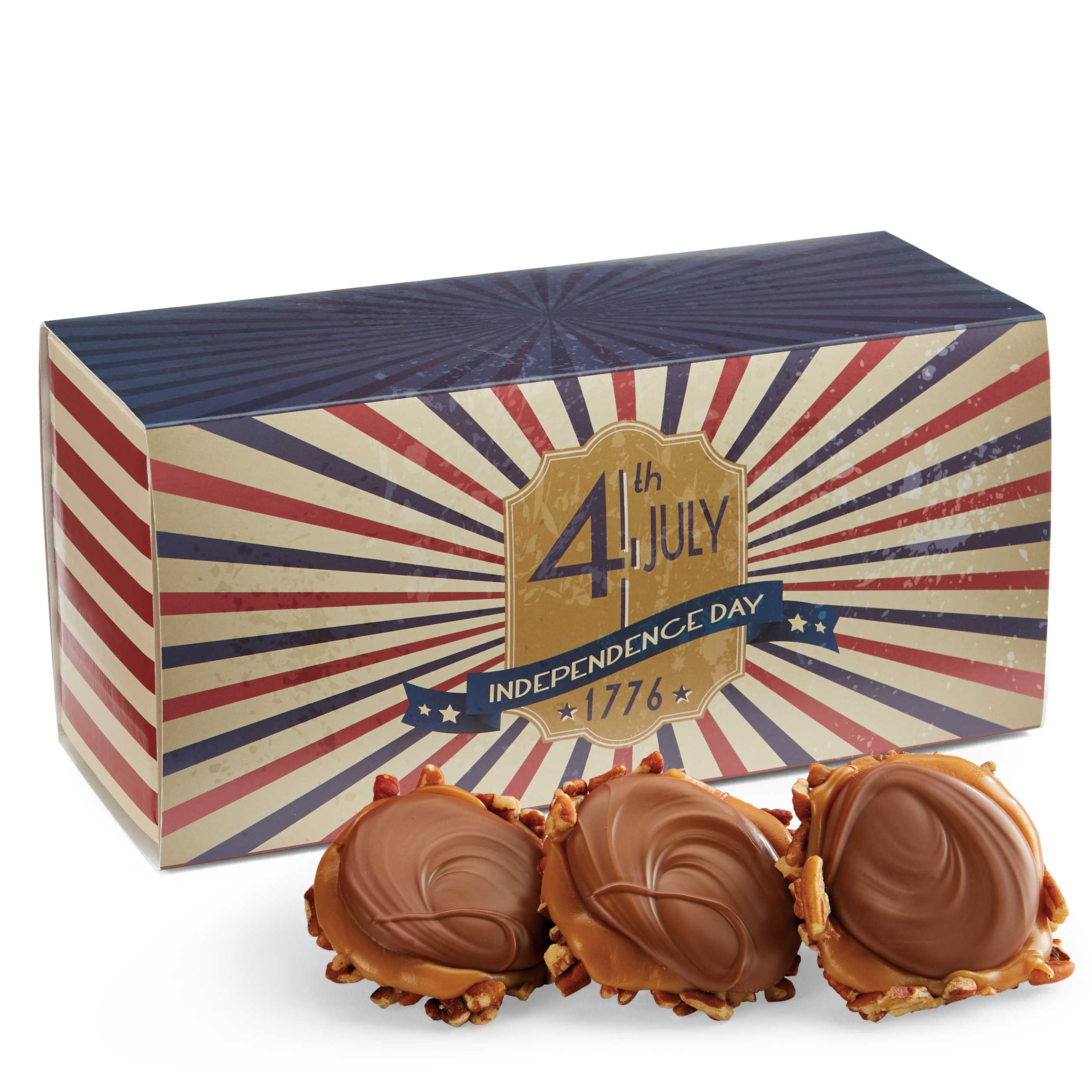 12 Piece Milk Chocolate Turtle Gophers in the 4th of July Gift Box