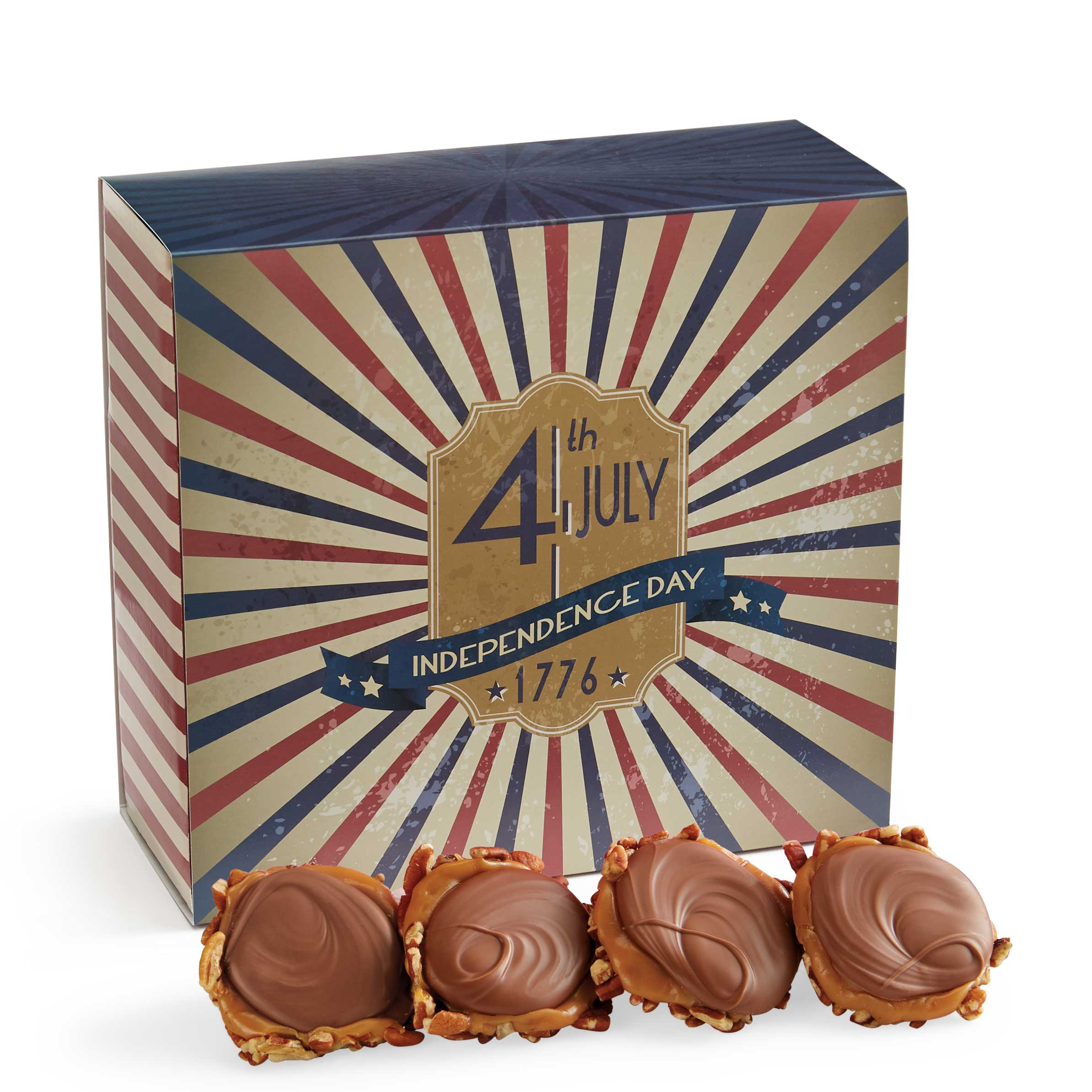24 Piece Milk Chocolate Turtle Gophers in the 4th of July Gift Box