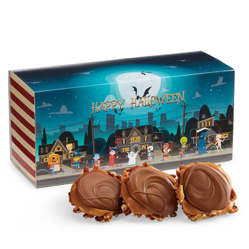 12 Piece Milk Chocolate Turtle Gophers in the Halloween Gift Box