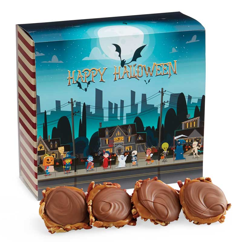 24 Piece Milk Chocolate Turtle Gophers in the Halloween Gift Box