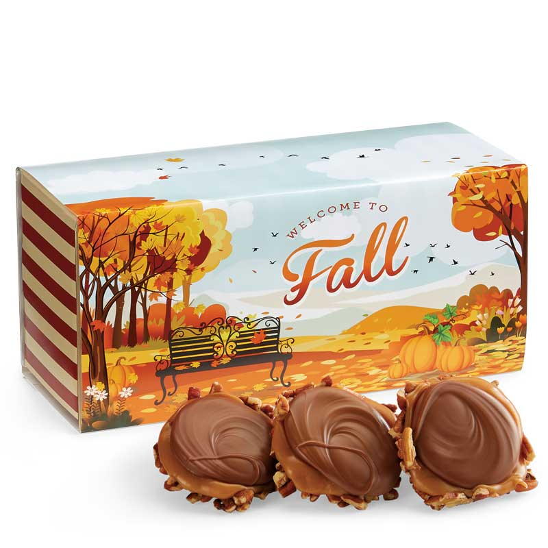 12 Piece Milk Chocolate Turtle Gophers in the Fall Gift Box