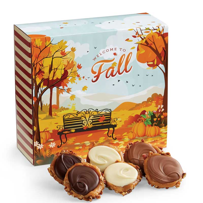 24 Piece Assorted Chocolate Turtle Gophers in the Fall Gift Box