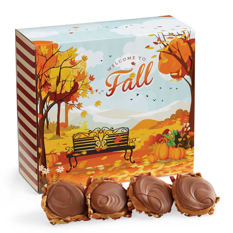 24 Piece Milk Chocolate Turtle Gophers in the Fall Gift Box