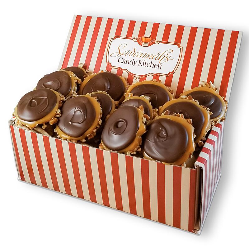 12 Piece Dark Chocolate Turtle Gophers Gift Box