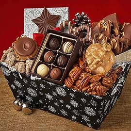 Snowflake Gift Basket & Snowflake Gift Basket Candied Nuts: Savannah Candy Kitchen