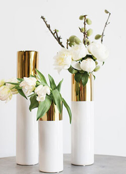 Gold Vases, Candle Holders, and Accents