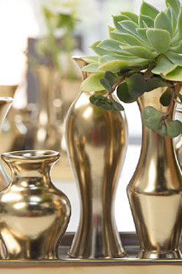 Gold Accessories, Vases, Candle Holders, and Accents