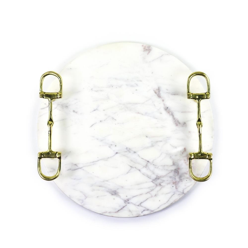 Round Marble Tray with Snaffle Brass Handles