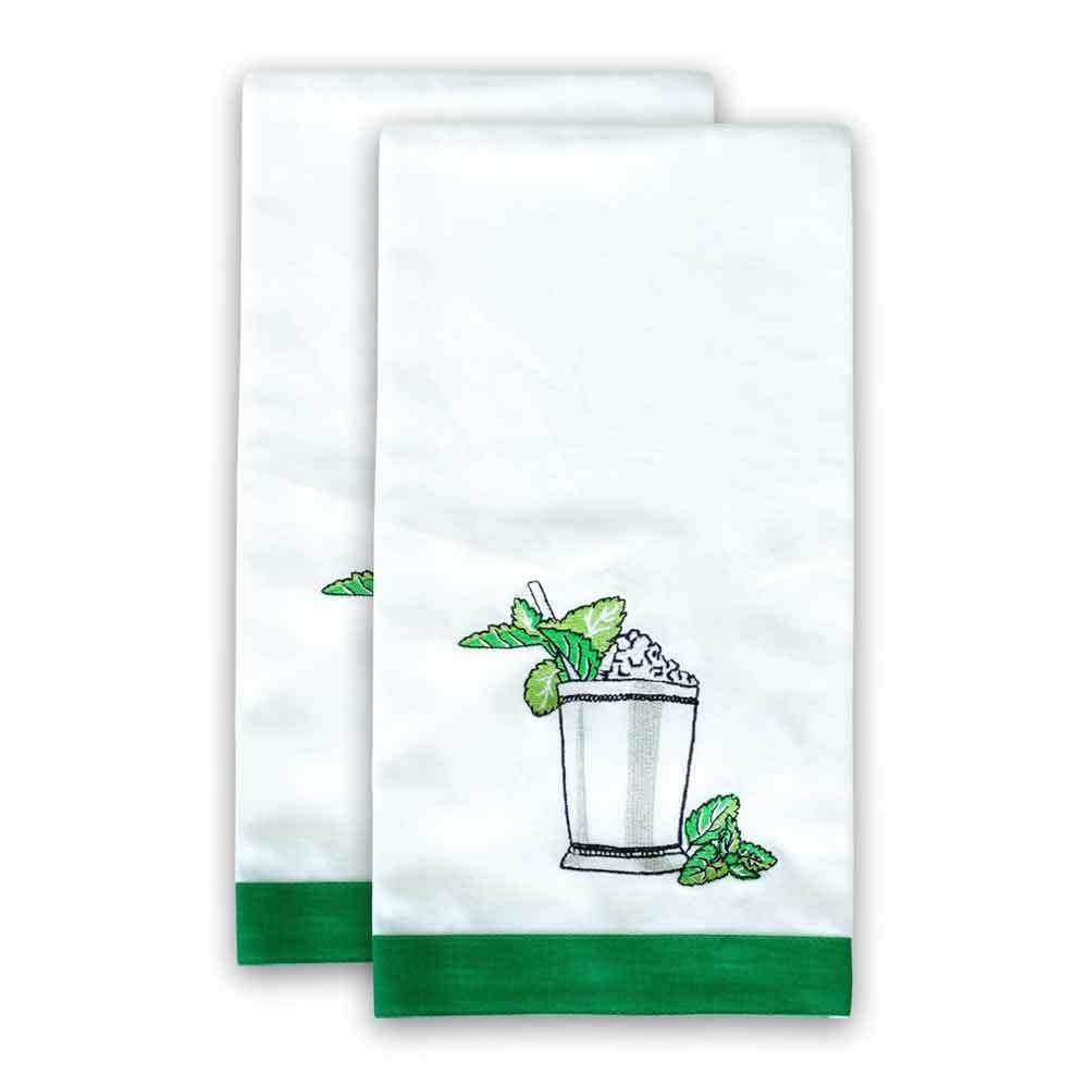 Mint Julep Embroidered Hand Towels, Set of 2