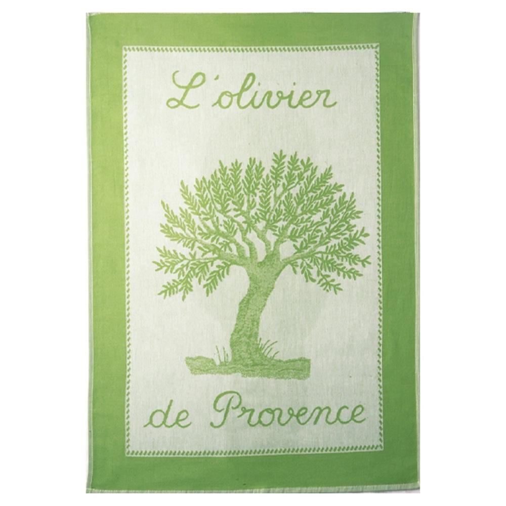 Olive Tree French Cotton Jacquard Tea Towel