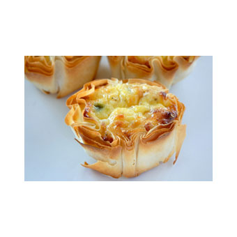 Roasted Red Pepper, Onion & Mozzarella Tarts