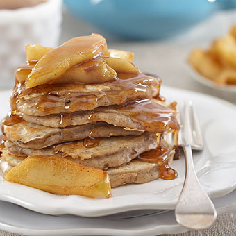 Pecan Pancakes with Maple-Glazed Apples