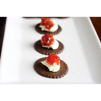 Chocolate Moravian Cookies with Mascarpone Cheese & Sour Cherry Jam