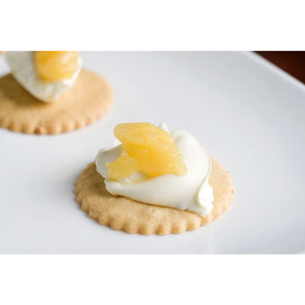 Toasted Coconut Moravian Cookies with Mascarpone Cheese & Lemon Curd