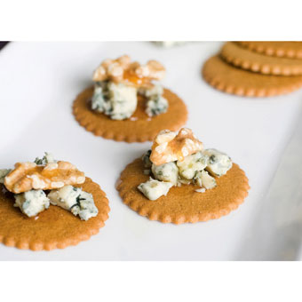 Spicy Ginger Moravian Cookies with Danish Blue Cheese,  Toasted Walnuts and Orange Blossom Honey