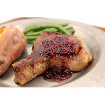 Thick Cut Pork Chop with Blackberry Spice + Sage Red Wine Sauce