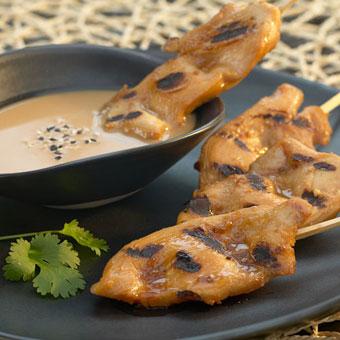 Skewered Grilled Chicken with Sesame Ginger Peanut Dip