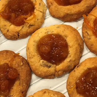 Spiced Lemon-Sultana Linzer Cookies with Caraway, Crystalized Honey & Saffron