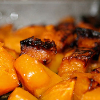 Roasted Butternut Squash with Spiced Raisins and Tahini