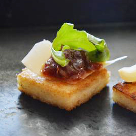 Parmesan Grit Cakes with Oven Roasted Tomato Jam