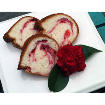 Strawberry + Basil Swirl Poundcake