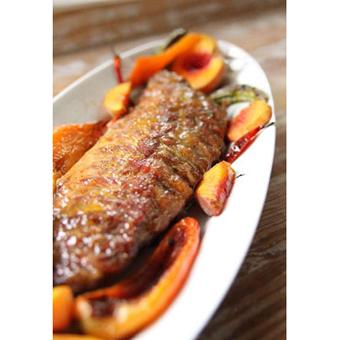 Peach Pepper + Ginger Glazed Pork Roast