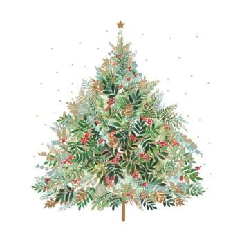 Christmas Hill Tree Beverage Napkin