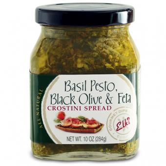 Basil Pesto, Black Olive & Feta Crostini Spread