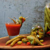 Pickled Okra with Bloody Mary