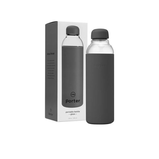 Porter Eco-Friendly Glass Water Bottle, Charcoal