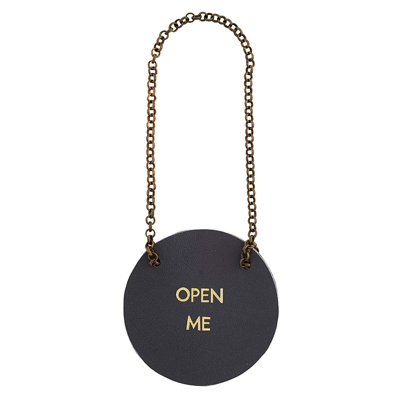 Leather Bottle Tag - Open Me
