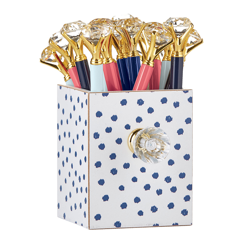 Assorted Gem Pens in Polka Dot Holder