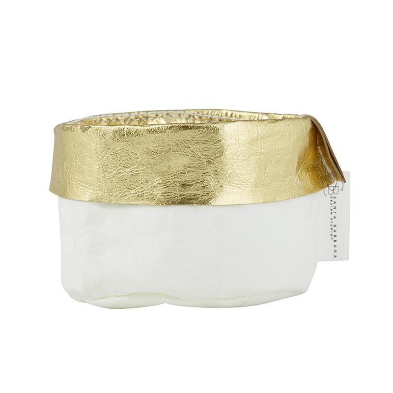 Washable Paper Holder - Mini - White/Gold