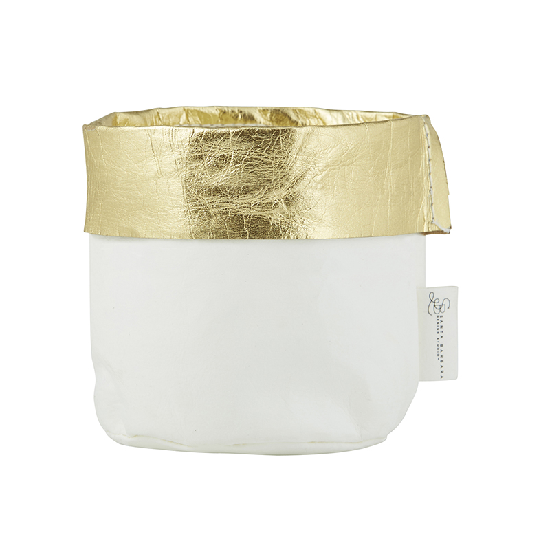 Washable Paper Holder - Small - White/Gold