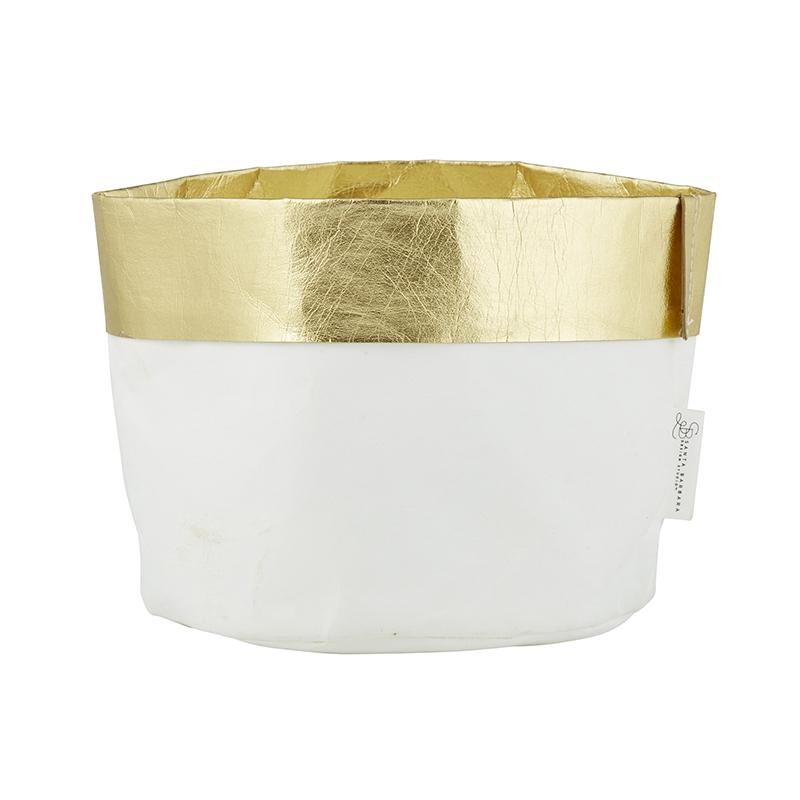 Washable Paper Holder - Large - White/Gold