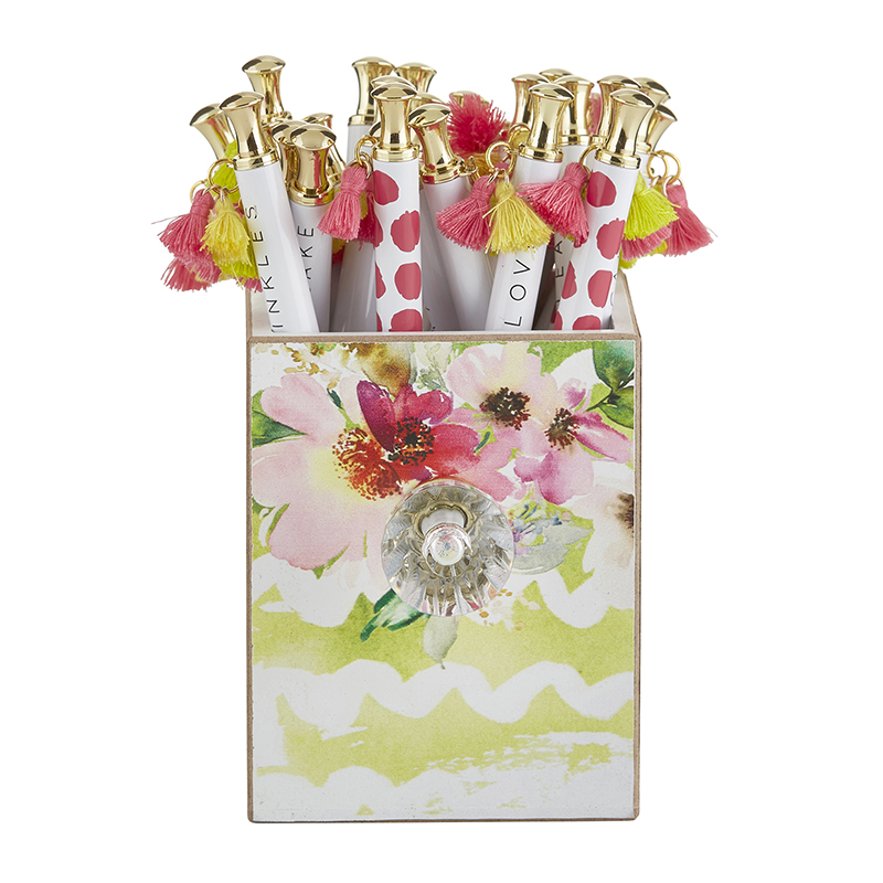 Assorted Tassel Pens in Spring Floral Holder